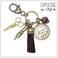 Porte clés - bijou de sac Maîtresse - Bronze et cabochon verre illustré Je t'Adore Maîtresse - idée cadeau maîtresse, cadeau fin d'année scolaire