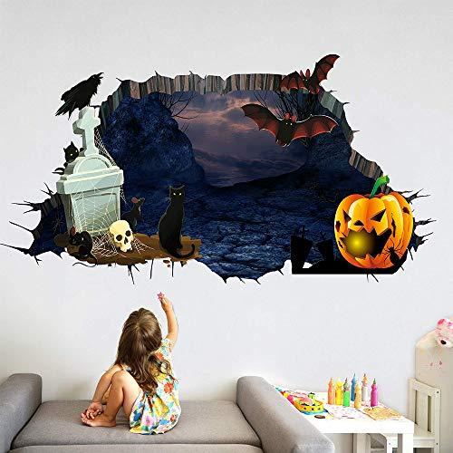 LIZHIOO Wandaufkleber Halloween Friedhof Kürbis 3D Gebrochen Wandaufkleber Wandaufkleber Wohnzimmer Schlafzimmer Dekorative Malerei