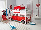 Cabin Bed Midsleeper with Campervan Tent and Tunnel (White) Noa and Nani