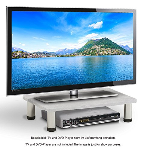 RICOO Wooden TV Stand Rack FS051W Monitor Mount Universal LED Curved QLED QE LCD OLED Projector Television Cabinet Pedestal Shelf Table Base Single Screen Heightening Display / White