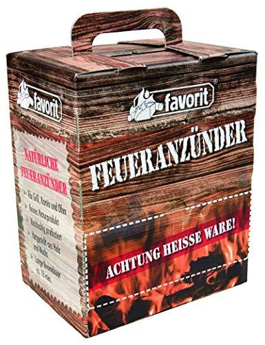 Favorit Feueranzünder (Holzwolle & Wachs), 100 Stück - ökölogische Anzünder, Naturprodukt, nachhaltig produziert - 1216