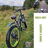 Rich BIT tp022 1000W 48V 17AH Fat Tire Elektrofahrrad 26 'Aluminiumrahmen Fat Bike, 21-Gang-Shimano-Schaltsystem mit bis zu 25 km/h, geschlossene Scheibenbremse