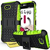LG L90 Handy Tasche, FoneExpert® Hülle Abdeckung Cover schutzhülle Tough Strong Rugged Shock Proof Heavy Duty Case für LG L90 + Displayschutzfolie (Grün)