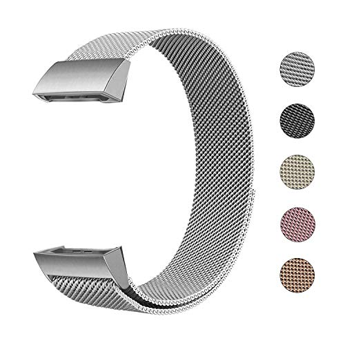 Defurhome Ersatzarmbänder Kompatibel für Fitbit Charge 3,Milanese Loop Edelstahl Verstellbare Ersatz Armbänder mit Magnetverschluss für Fitbit Charge 3,Groß- Silber -