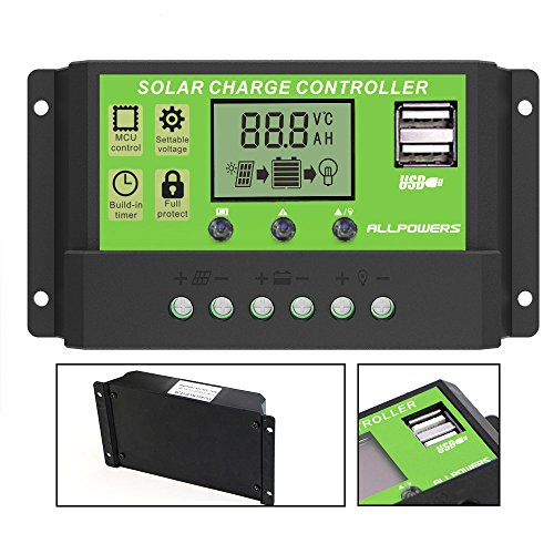 ALLPOWERS Solar Ladegerät Controller 20A intelligenter Solarladeregler Solar Panel Batterie mit USB Port LCD Display 12V/24V (Niedrig-temperatur Lcd)