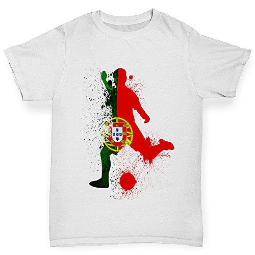 e3d56bd43d1 TWISTED ENVY Boys Funny tee Shirts Football Soccer Silhouette Portugal Age 7-8  White