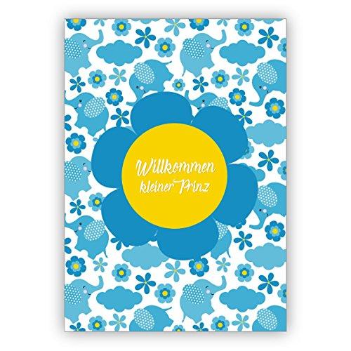 4 Stck mit Umschlag Niedliche Retro in hellblau Babykarte als Glckwunsch zum Baby Jungen mit Elefanten und Blmchen: Willkommen kleiner Prinz zauberhafte Willkommens Karte