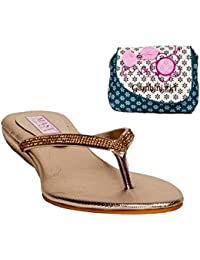 SLN Synthetic Leather Beige V Strap Flat Heel Casual Flip Flop With Blue Printed Clutch For Women
