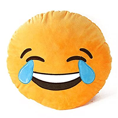 Lovein Soft Emoji Smiley Emoticon Yellow Round Cushion Pillow Stuffed Plush Toy Dol LAUGH TO TEAR