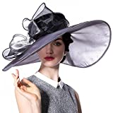 June's Young Women Organza Hat Summer Hat for Wedding Hats Wide Brim Sun hat Ascot Race Derby Hat (Silver black hat)