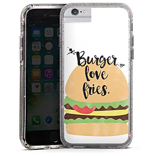 Apple iPhone 8 Bumper Hülle Bumper Case Glitzer Hülle Burger Hamburger Fastfood Bumper Case Glitzer rose gold