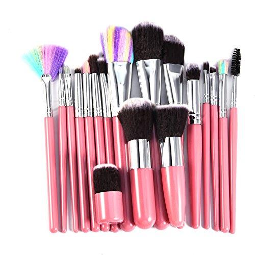 18 Stück Professionelle Make Up Pinsel Set Bunte Haare Schminkpinsel Set Kosmetik Bürste Powder...