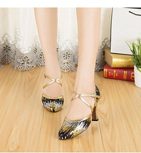 Minitoo - Ballroom donna Gold/Black-8cm Heel
