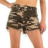 Damen Shorts, Camouflage Destroyed HOT Pants Shorts, KL-J-1D23, Grün, L/40