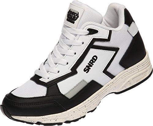 SNRD - 712 Particulièrement Casual mixte semelle élévateur Fashion Baskets Blanc - Blanc/noir