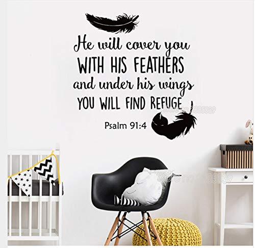 Neu eingetroffen Psalm 91: 4 Bible Verse Wandaufkleber Aufkleber für Schlafzimmer Dekor wird er Sie mit Vinyl Zitate Wallpaper 56X63Cm