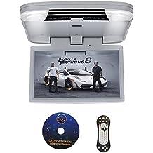 DDAUTO DD1556G Reproductor de DVD Sobrecarga 1080P HD IPS Pantalla Reproductor para Coche Con USB SD HDMI Incorporado Videojuegos Doble Cupula 15,6 Pulgadas Gris