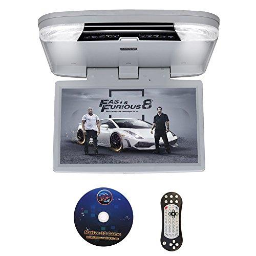 DDAUTO DD1556G 15,6 Zoll Overhead DVD Player IPS Bildschirm Deckenmonitor 1080p HD Flip Down Monitor mit Wireless Fernbedienung, Gamepad, Douple- Dachinnenbeleuchtung, unterstützt USB, SD, HDMI, Spiele Grau (Av Grau Rahmen)
