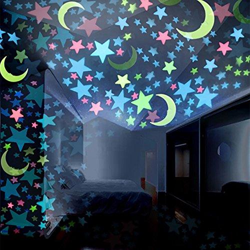 OSYARD Wandaufkleber Wandtattoo Wallsticker,★☆ Leuchtsterne Fluoreszierendes Glühen Mond Abziehbilder Sticker,100PCS Selbstklebende Sternenhimmel Aufkleber für Baby Schlafzimmer Kinderzimmer Deko