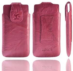Original Suncase Echt Ledertasche für Sony Xperia T in wash-pink