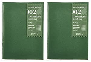traveler's notebook passport size refill two books pack grid section 002 14314006