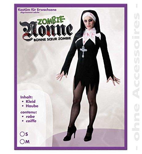 KarnevalsTeufel 2-TLG. Erwachsenenkostüm Zombie Nonne Kleid mit Haube sexy Fetzenlook kurz mit Blutspritzern