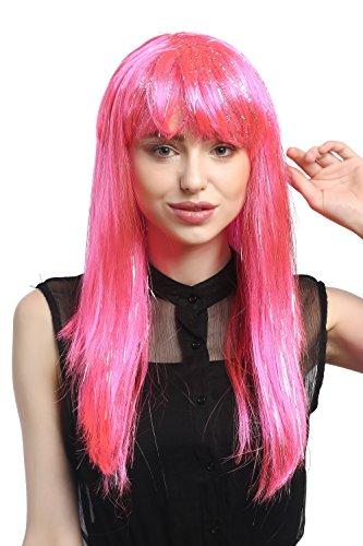 WIG ME UP - XR-003-PC5 Perücke Karneval Fasching Damenlang glatt Pony Rosa Pink + silberne Glitter Strähnen ca. 55 (Neon Pink Perücke Lange)