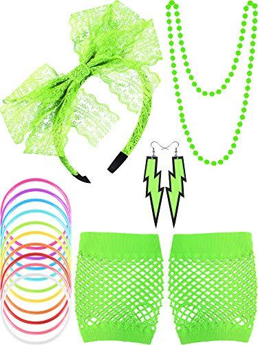 80s Lace Stirnband Ohrringe Fischnetz Handschuhe Halskette Armband für 80s Partei (Fluoreszierend Grün)