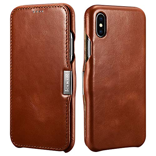Icarer Custodia iPhone XS Max, Flip Folio Premium Vera Pelle Protettiva Case Cover con Magnet Closure per iPhone XS Max 6,5 Pollici (Marrone)