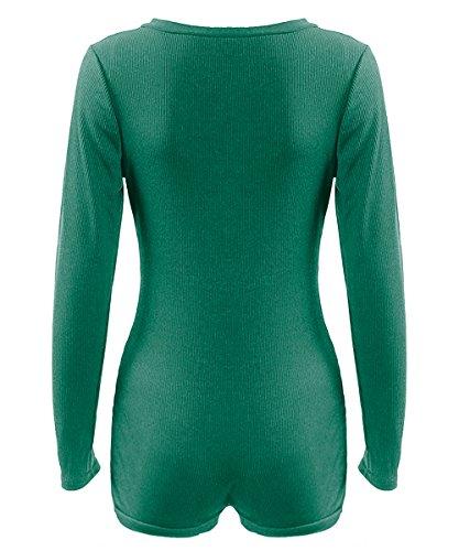 AJ FASHION Damen Langärmelig Strampler Tiefer V-ausschnitt Hose Gestrickt Enganliegend Overall Grün