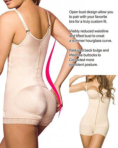 Donna Body Snellente Aperto Busto Shapewear Corsetto Bustino Shaper Intimo Modellante Beige
