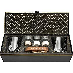 Coffret Cadeau Pierres à Whisky - 6 Pierres Artisanales Rondes en Granit - 2 Verres en Cristal pour Dégustation - Support de Présentation et Rangement en Bois - Magnifique Coffret Or à Chaud