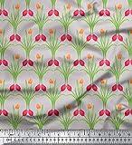 Soimoi Grau Seide Stoff Blätter & Tulpe Blumen- Dekor