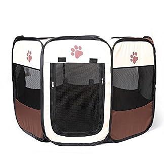 JOYEUX Pet Play Pen Portable Foldable Puppy Dog Pet Cat Rabbit Guinea Pig Fabric Playpen Crate Cage Kennel Tent-Red 51w1HQyL13L