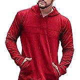MIRRAY Herren Casual Pullover Herbst Langarm Slim Fit Einfarbig Kapuzenoberteile Bluse Rot/Schwarz/Beige/Dunkelgrau/Armeegrün