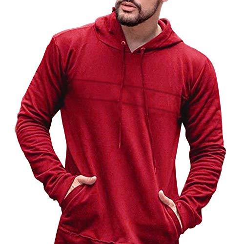MIRRAY Herren Casual Pullover Herbst Langarm Slim Fit Einfarbig Kapuzenoberteile Bluse Rot/Schwarz / Beige/Dunkelgrau / Armeegrün