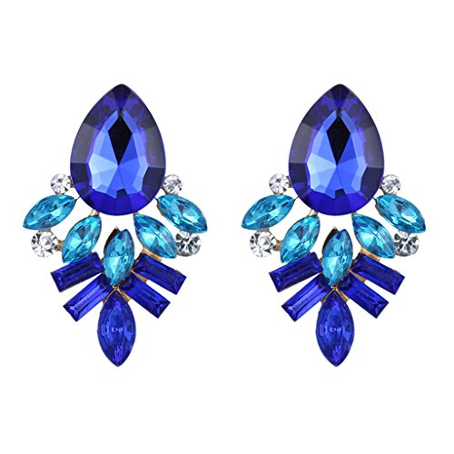 Hosaire 1 Paar Ohrringe Damen Mädchen Stein Ohrringe Fashion Süßes Kristall Diamant glitzernden Ohrstecker Geschenk (Blau)