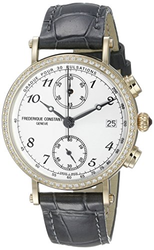 FREDERIQUE CONSTANT CLASSICS FC291A2RD5 LADIES BLACK LEATHER DIAMONDS 34MM WATCH