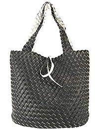 96eb2c2e74120 CASAdiNOVA Damen Schwarze Shopper Tasche Groß Wendetasche XXL Flecht-Optik  Handtaschen Set 2in1 Große Tasche