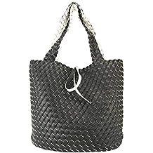 9854490961000 CASAdiNOVA Damen Schwarze Shopper Tasche Groß Wendetasche XXL Flecht-Optik  Handtaschen Set 2in1 Große Tasche