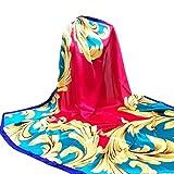 YunYoud Damen Drucken Hijab Schals Frau Schön Lange Wickelschal Seide-Satin Platz Schal Weich Schal Super Komfortabel Schals (140*140CM, Rot)