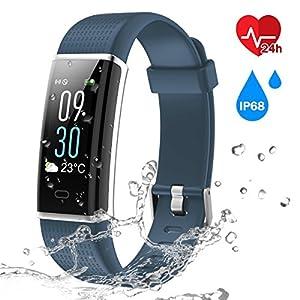 Fitness Armband Uhr mit Herzfrequenz,Chianruey Fitness Tracker mit Pulsmesser,Aktivitätstracker mit Schlafüberwachung,Wasserdicht IP68 Fitness fitnessuhr mit Schrittzähler,Bluetooth Kalorienzähler Vibrationsalarm Anruf SMS Whatsapp für Damen/Herren