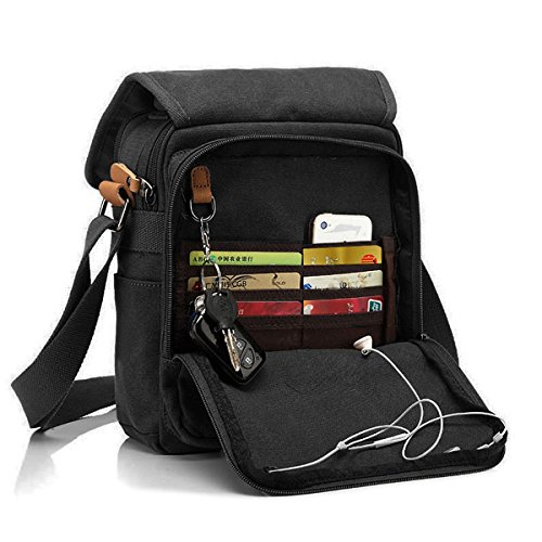 CHEREEKI Messenger Bag [Nuovo Arrivo], Multiple Pockets Canvas Bag Borsa Vintage da Uomo Messenger Bag Casual Sling Shoulder Pack Croce Body Satchel per lavoro, Scuola. (Nero)