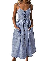 Kfnire vestido midi, botines de correa de espagueti bohemio florales de verano de las mujeres abajo vestidos de…