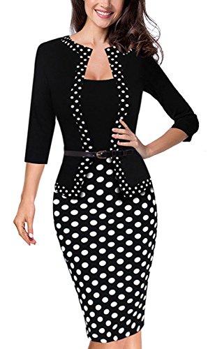 e Retro 3/4 Hülsen Bleistift Kleid tragen to Arbeit B407(EU 38 = Size M,Punkt) (Schuhe Für Kleider)