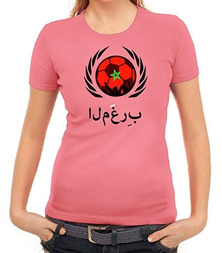 ShirtStreet Marocco Wappen Soccer Fussball WM Fanfest Gruppen Fan Wappen Damen T-Shirt Fußball Marokko Rosa