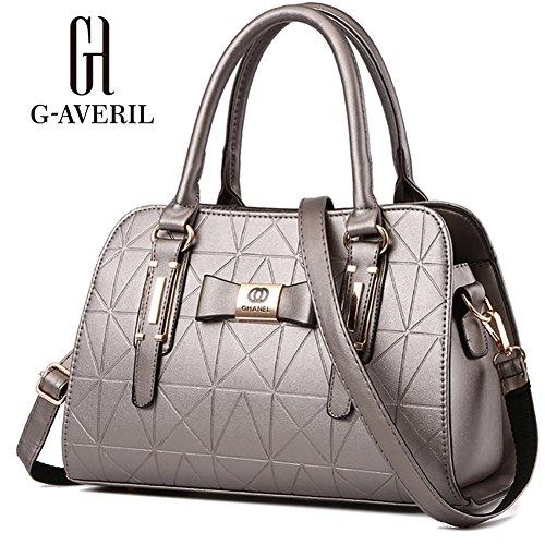 (G-AVERIL)Donne Boutique moderno ed elegante maniglia superiore borsa del messaggero della borsa della spalla del Tote casuale del lavoro Bauletto Rosso argento