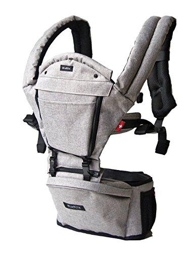 MiaMily HIPSTER PLUS Marsupio Porta Bebè, Perfetta Alternativa allo Zaino da Escursionismo con 9 Posizioni di Trasporto e Design Ergonomico con Protezione per le Anche del Bambino o del Neonato (Grigio)