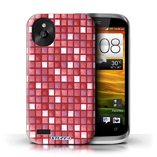 Kobalt® Imprimé Etui / Coque pour HTC Desire X / Vert/Rouge conception / Série Carreau Bain Rouge