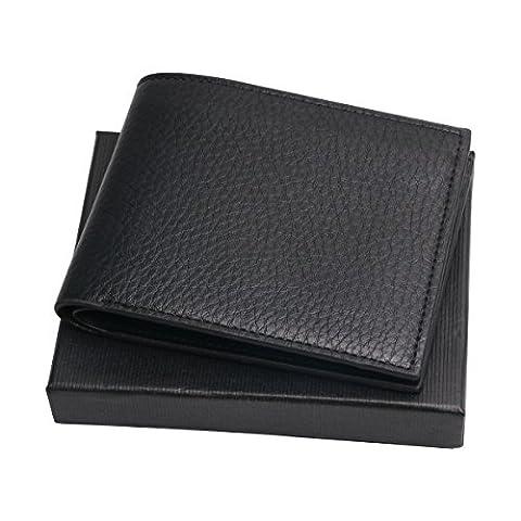 Geldbörse Herren PU-Leder, Herren Portemonnaie Geldbeutel mit Kreditkarten Schwarz (Kein